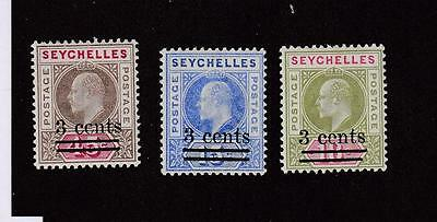 Seychelles Scott Ref(5454)# 49-51 Mlh Kev11 Issues Surcharges Cat Value $9.65