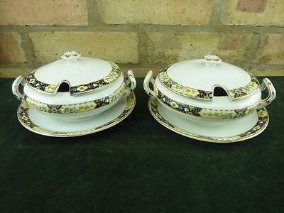"2  nice Antique Fenton Pottery small 7"" sauce tureen bowls"