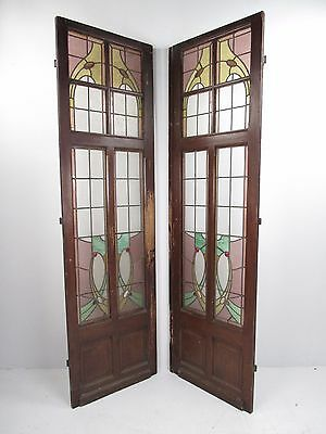 Pair Large Antique Stained Glass Doors (0452)NJ