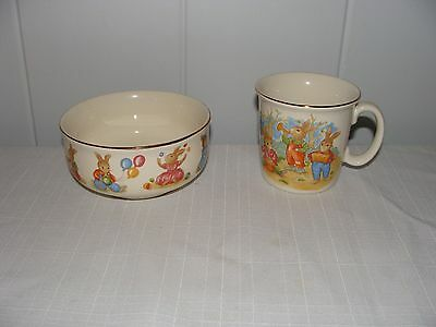Mount Clemens Pottery Childs BOWL & Cup Bunny Rabbits Gold Trim EC