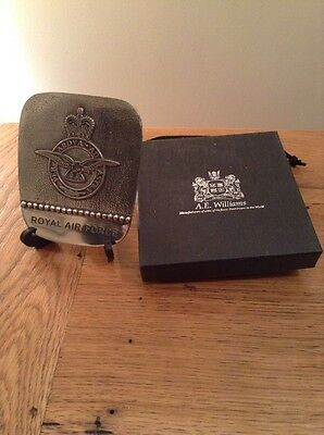 """Royal Air Force """"Prayer """" Pewter Plaque With Stand And Box , Pouch . Excellent"""