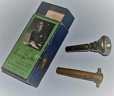 Vintage Kenny Baker Signed Cornet Mouthpiece in Box plus Adapter for Trumpet