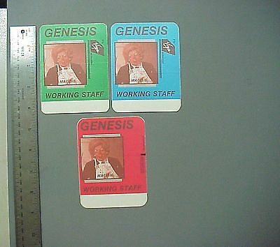 Genesis backstage passes 3 cloth stickers Invisible Touch Margeret Thatcher !