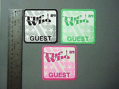 The Who backstage passes 3 cloth stickers '89 3 squares !