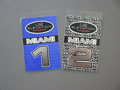 """U2 backstage pass Otto Laminated TWO Elevation """"Miami"""" silver foil ink !"""