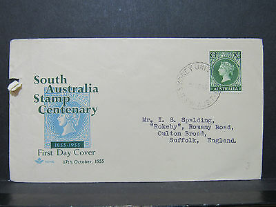 1955 FDC SOUTH AUSTRALIA STAMP CENTENARY Posted Envelope & Stamp
