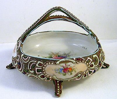 Exquisite Antique Japanese Nippon Footed Moriage Basket w/ HP Flowers