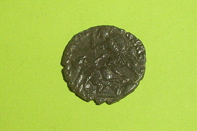 Ancient ROMAN COIN of CONSTANTIUS II soldier killing Persian horse man G-VG old