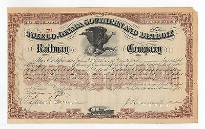 J. S. Casement - Toledo, Canada Southern and Detroit RR Co. Stock Certficate