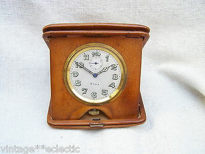 TAN LEATHER FOLDING TRAVEL CLOCK of SWISS MAKE 15 JEWELS ~ ANTIQUE VINTAGE (A/F) • £35.00