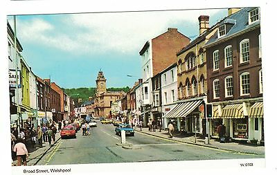 1970's Colour Postcard, Broad Street, Welshpool