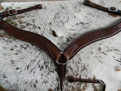 Basketweave Tooled Western DARK BROWN Leather Breast Collar Quality Horse Tack