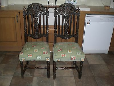 2 Carved Oak Victorian Dining Chairs Antique