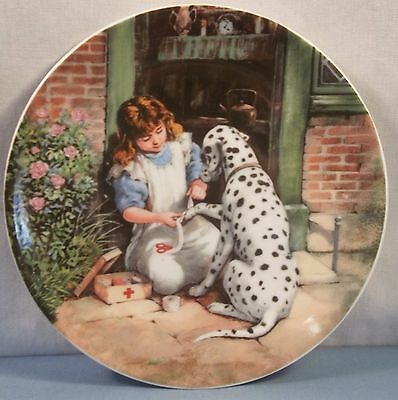 Older Dalmatian Dog Plate - First Aid Girl and Dalmatian