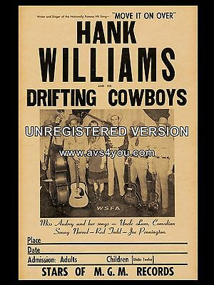 "Hank Williams and the drifting cowboys 16"" x 12"" Photo Repro Concert Poster"