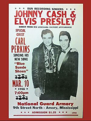 """Elvis / Johnny Cash Armory 16"""" x 12"""" Photo Repro Concert Poster"""