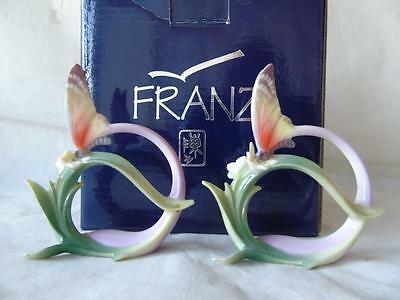 Boxed Pair of Franz Porcelain Papillon Butterfly Collection Napkin Rings FZ00500