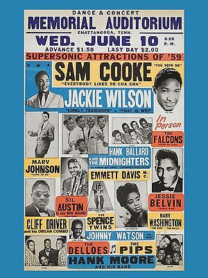 """Sam Cooke / Jackie Wilson 16"""" x 12"""" Photo Repro Concert Poster"""