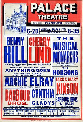 """Benny Hill Plymouth 16"""" x 12"""" Photo Repro Concert Poster"""