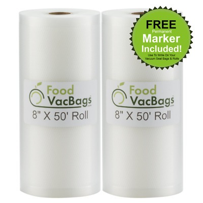 SALE! Two 8X50 VacSealBags Food Storage Bags Great Food & $$ Saver!