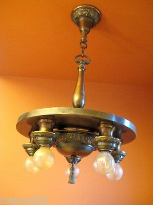 Vintage Lighting antique 1920s chandelier   Bronze like Patina