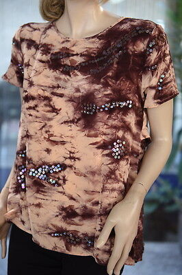 Lim's 100% Silk Hand Tie-Dye Asymmetry Top One Size Brown Base With Sequins