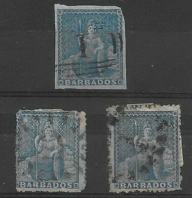 Barbados. 1852/5. 1d. SG3, plus  others. Used (3)