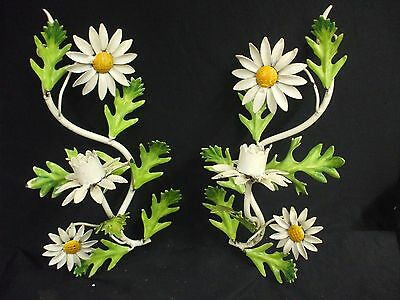 Vintage Tole Flower Candle Holder Sconces Toleware Daisies Shabby
