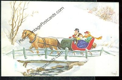 Sleigh Ride (post card not mailed (horse F)#47