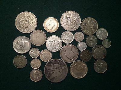 5 Troy OZ of Foreign World Silver Coins Various Countries Conditions Etc