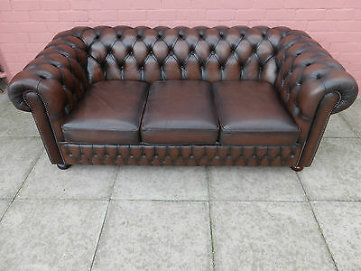 Dark Brown Leather Chesterfield Three Seater Sofa Settee **DELIVERY AVAILABLE**