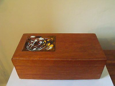 VINTAGE TEAK TILED WOODEN BOX 1960s 1970s DANISH STYLE - ONE OF A KIND ABSTRACT