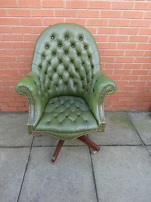 A Green Leather Chesterfield Directors Chair ****DELIVERY AVAILABLE****