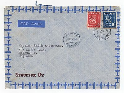 1946 FINLAND Air Mail Cover HELSINKI BRISTOL SG375 SG379e Structor Oy COMMERCIAL