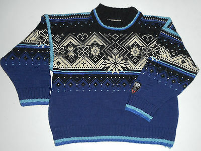 DALE Of NORWAY Wool Sweater * BLACK & BLUE * Nordic 2002 OLYMPIC Pullover Kids 8