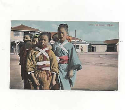 Young Japanese  Girls and babies Japan, RPPC