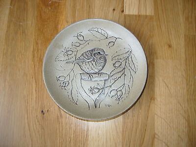 Poole Pottery Small Stoneware Plate Picturing A Bird On A Spade Handle