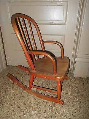 Antique Child's Rocking Chair Solid Wood Vintage