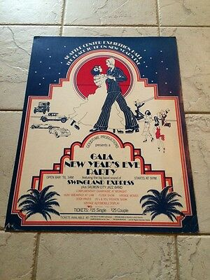 Vintage Seattle Center Exhibition New Years Party Swingland Express Poster 17X22