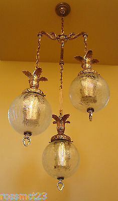 Vintage Lighting 1960s Hollywood Regency tri-globe chandelier   Extraordinary