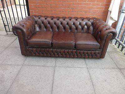 A Brown Leather Three Seater Chesterfield Sofa Settee **DELIVERY AVAILABLE**