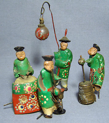 4 Asian Figurines Mud Men ? Musicians Musical Instruments Hand Painted As Found