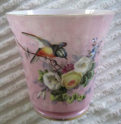 "Hand Painted Victorian Glass 6.5"" Cache Pot Vase Hummingbird and Roses"