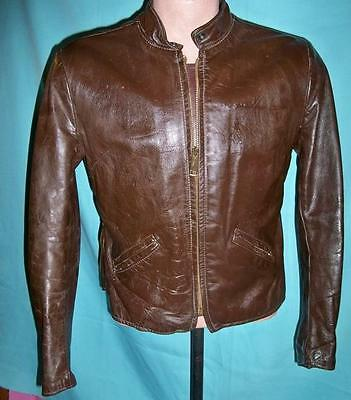 "1950's Vintage Brown Steerhide? Detroit Leather Motorcycle Jacket 42"" Chest"