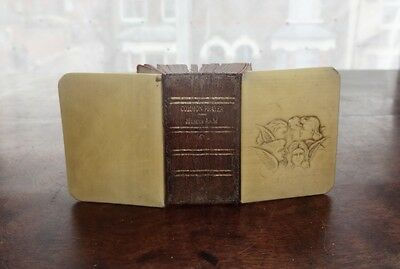 Antique Miniature Celluloid & Leather Book Of Common Prayer, Embossed Cherubs