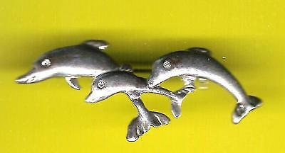 3 LEAPING DOLPHINS BROOCH PIN !   rhinestone eyes FREE SHIPPING !!