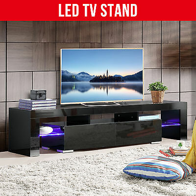 BN Modern 160cm High Gloss Black TV Stand Unit Cabinet with FREE LED RGB