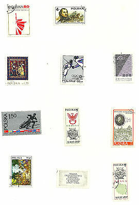 Poland 11 used Polish Stamps (GB)