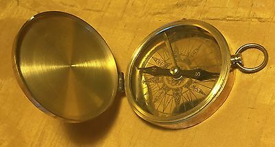 """Vtg 3"""" Brass Case Marine Nautical Compass w Etched Dial & Needle Lock"""