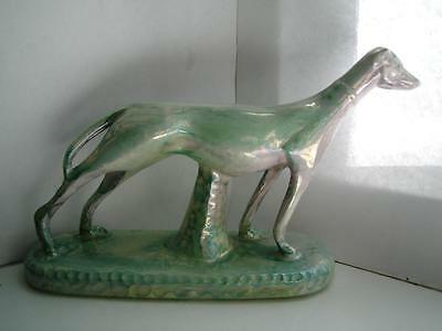 Art Deco style green & pink lustre pottery figure sleek Greyhound C 1930s 50s